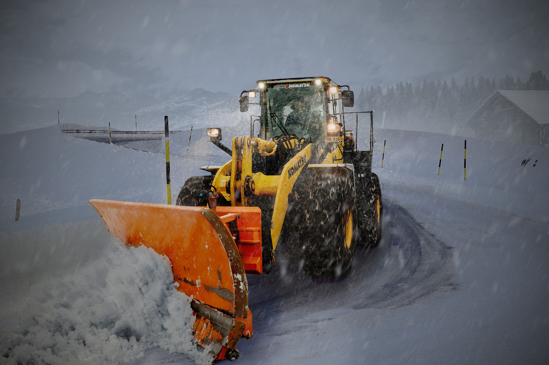 snow removal equipment with lights