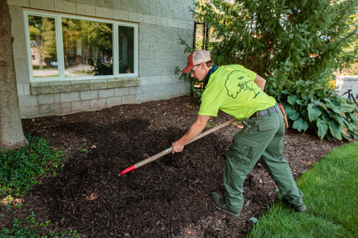 Turfscape crew applying fresh mulch