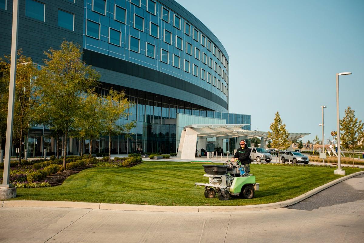 Commercial Landscaping Hospital Lawn Care Crew Technician Liquid Spraying Fertilization 6