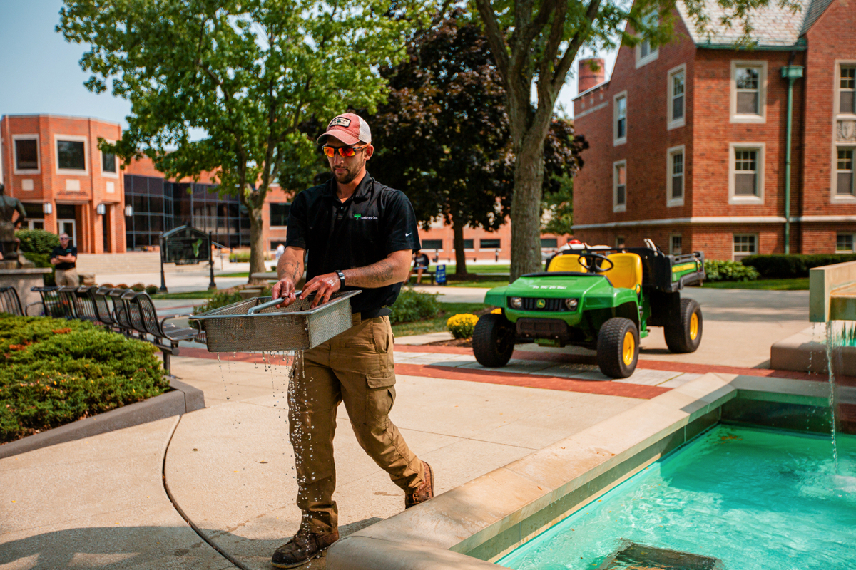 Commercial Landscaping John Carroll University Crew Water Feature Maintenance