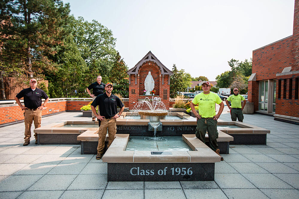 Commercial Landscaping John Carroll University Turfscape Crew Team Water Feature