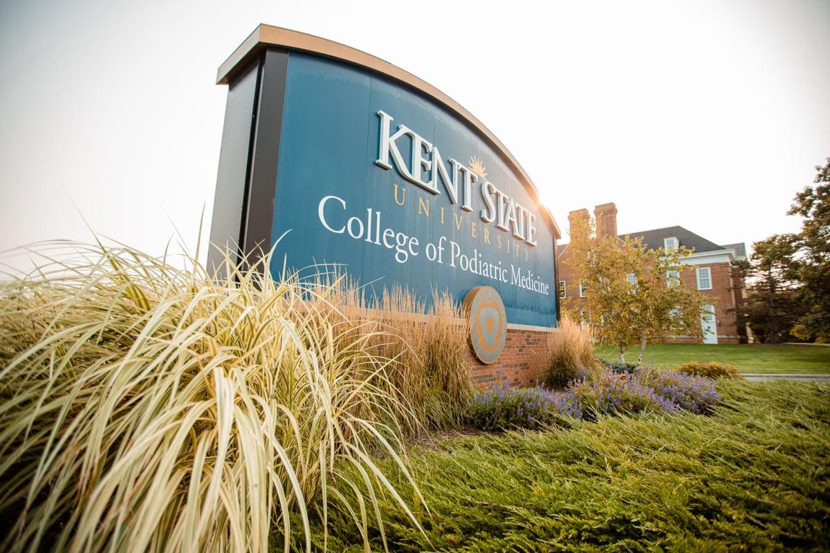 Kent State University landscape and sign