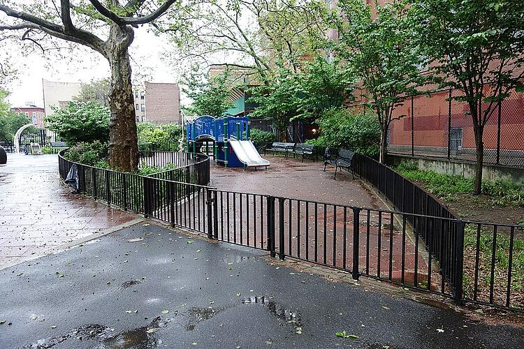 Playground with shade trees