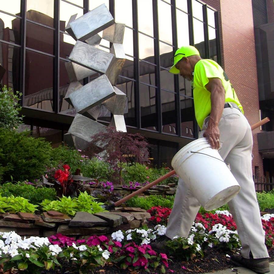 College campus grounds maintenance crew