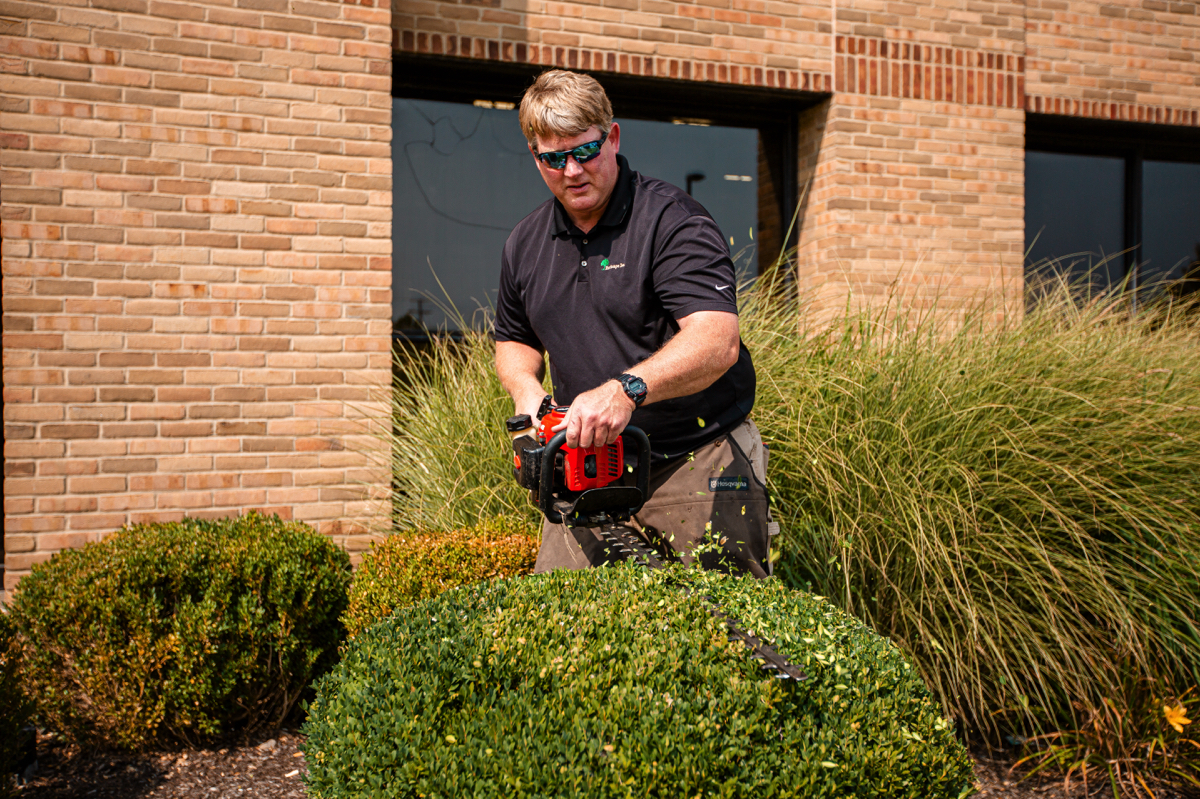 Turfscape crew pruning shrubs at a commercial facility