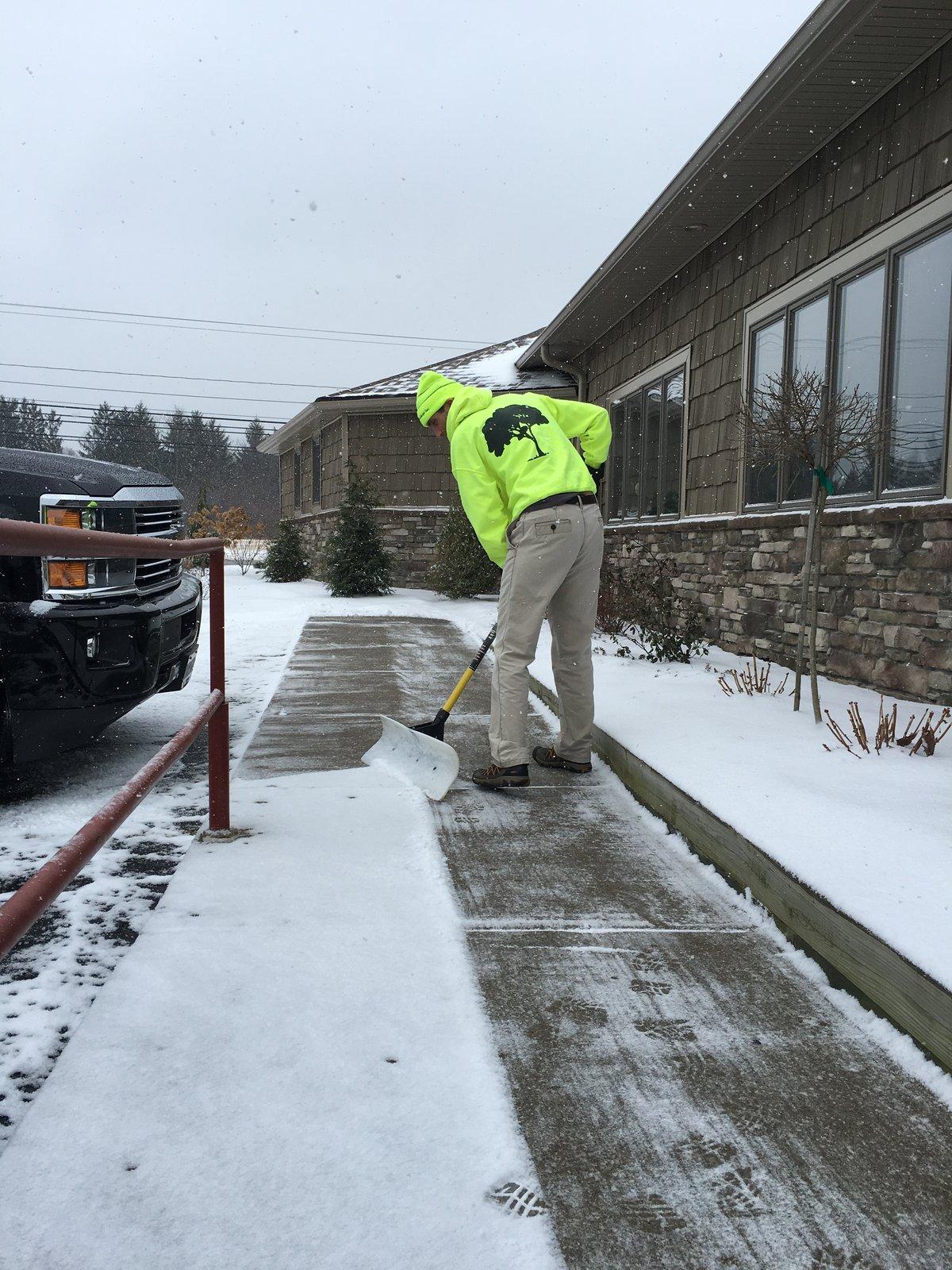 snow removal crew shovels walkway