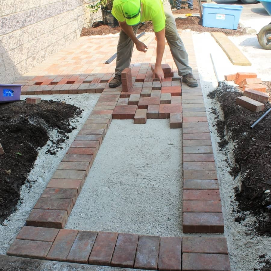 Commercial paver pathway installation