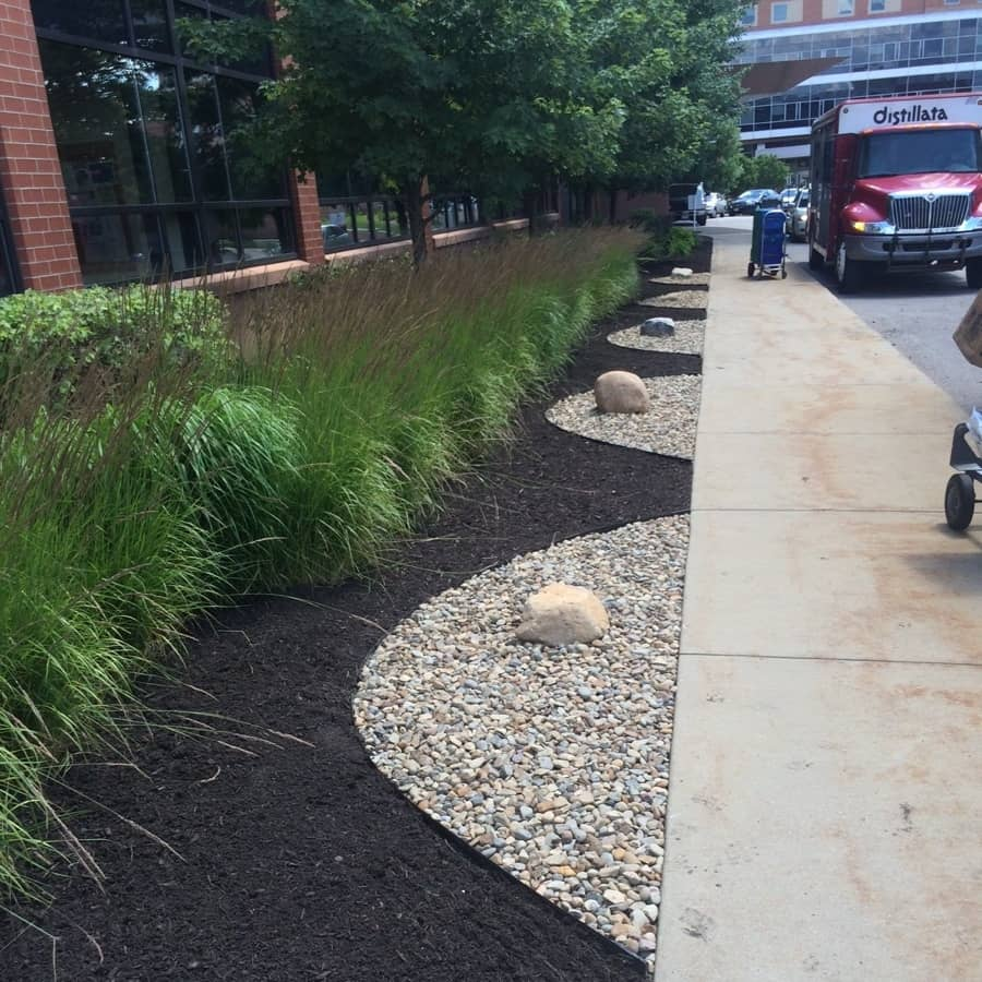 stone and mulch on commercial landscape