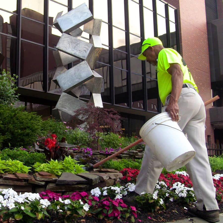 commercial grounds maintenance flower cleanup