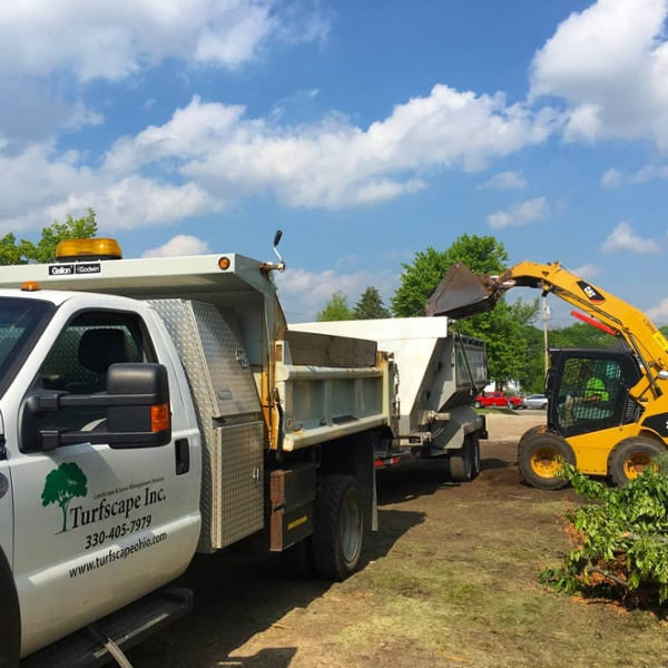 commercial grounds maintenance truck and equipment
