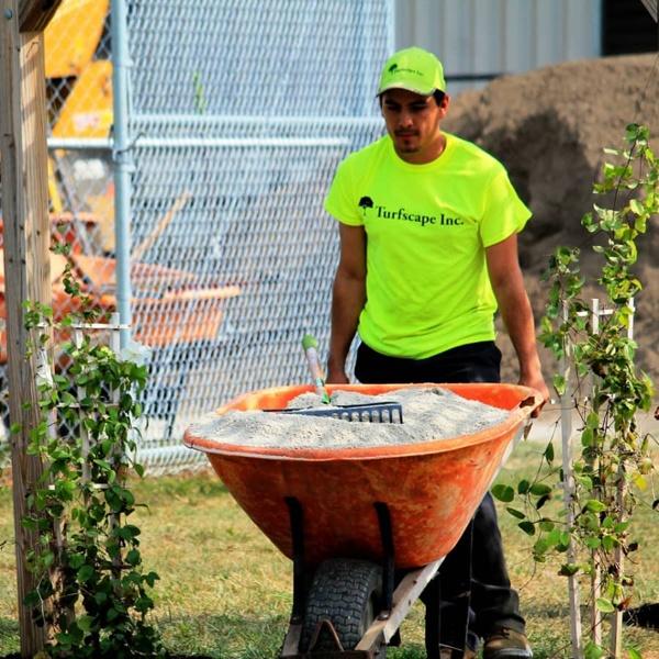 commercial landscaping mulch wheelbarrow