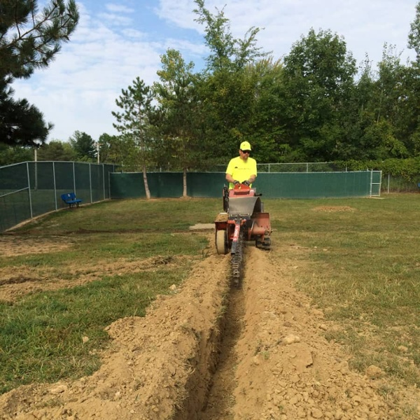 commercial landscaping trench