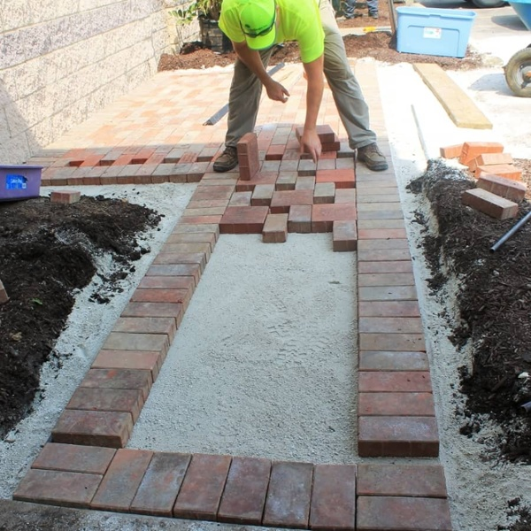 commercial landscaping services - brick walkway